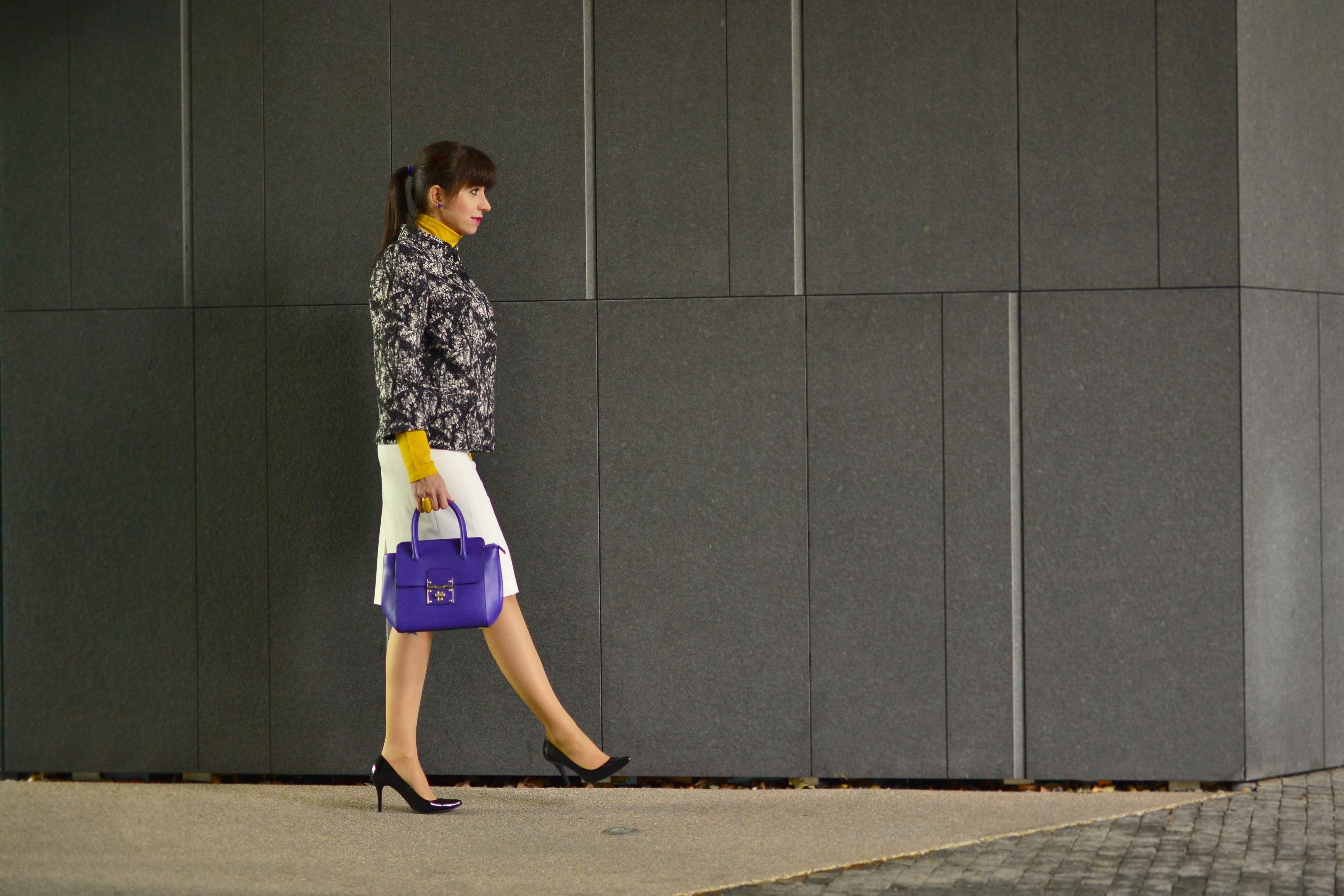 AKO MI VIZITKA OD ADVERTI ZACHRÁNILA SITUÁCIU_Katharine-fashion is beautiful_Žltý rolák_Fialová kabelka_Vizitky Adverti_Katarína Jakubčová_Fashion blogger