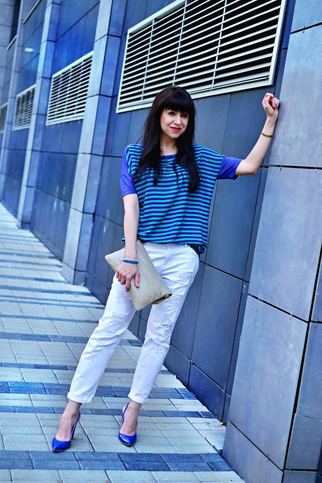 BLOG A WORDPRESS_Katharine-fashion is beautiful blog 2_wordpress_Biele džínsy_Prúžky_Pásiky_Katarína Jakubčová_Fashion blogger