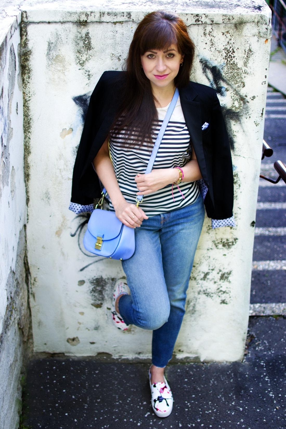 Mix vzorov_Katharine-fashion is beautiful blog 2_Levis_Pásiky_Prúžky_Dots_Bodky_Stripes_Katarína Jakubčová_Fashion blogger
