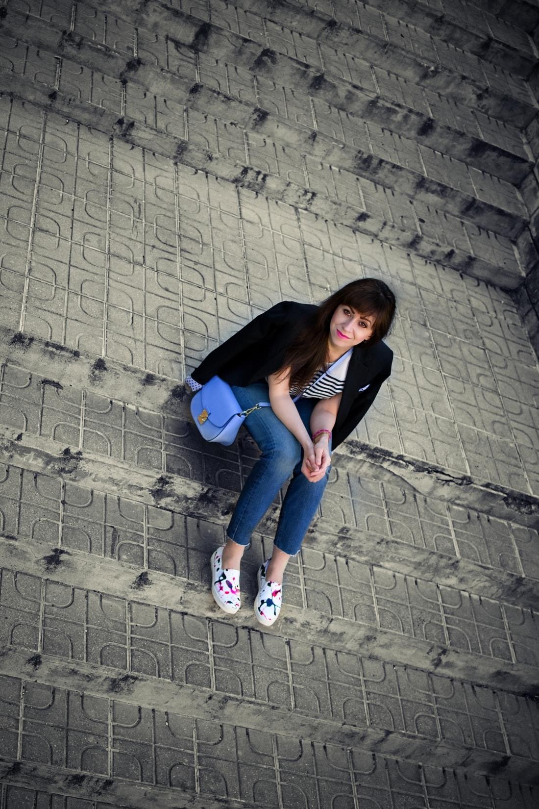 Mix vzorov_Katharine-fashion is beautiful blog 3_Levis_Pásiky_Prúžky_Dots_Bodky_Stripes_Katarína Jakubčová_Fashion blogger