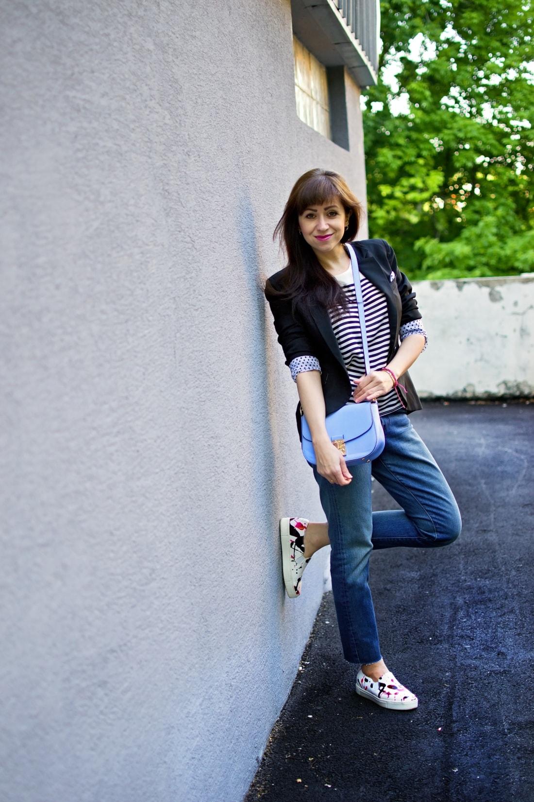 Mix vzorov_Katharine-fashion is beautiful blog 7_Levis_Pásiky_Prúžky_Dots_Bodky_Stripes_Katarína Jakubčová_Fashion blogger
