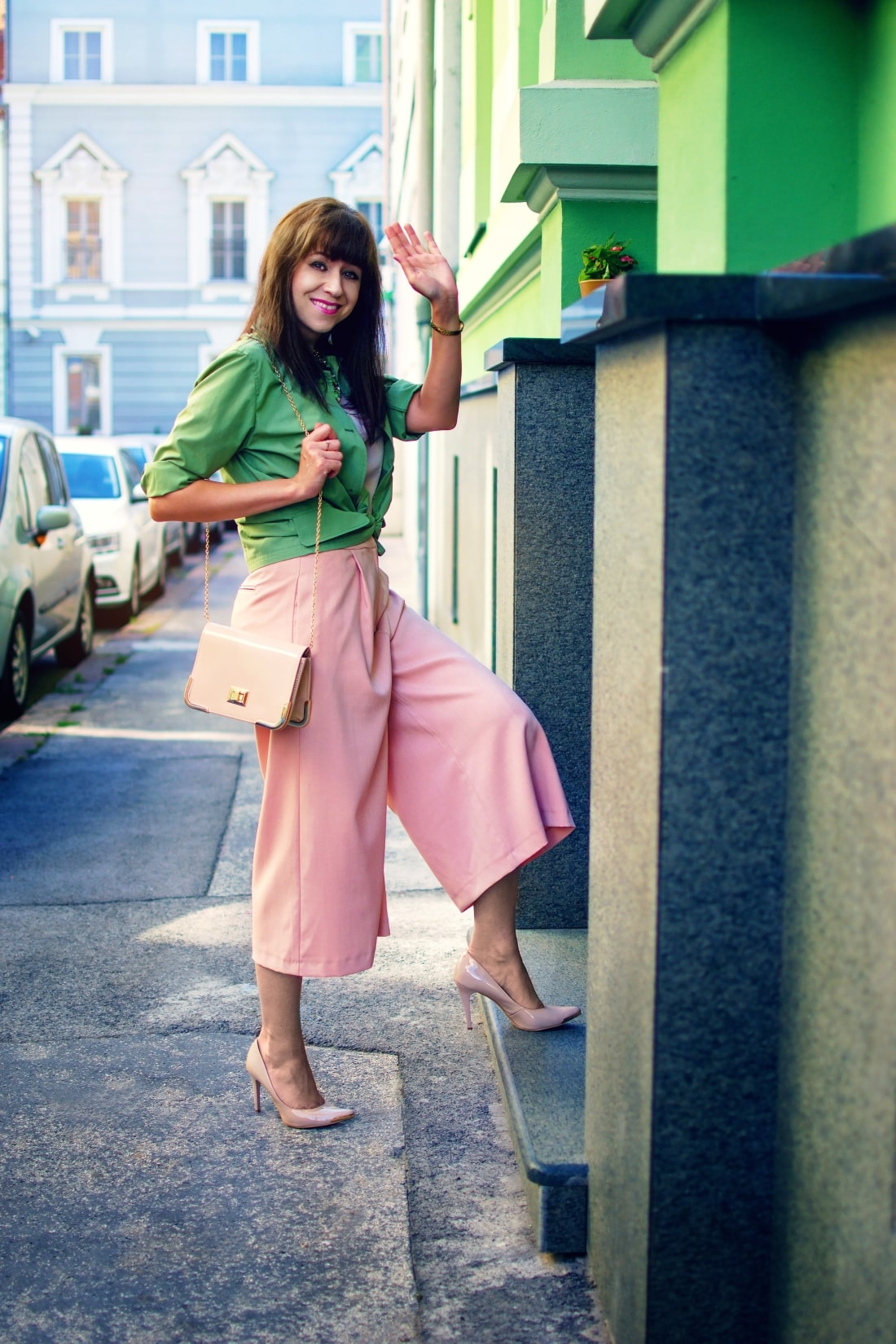 Culottes_Katharine-fashion is beautiful blog 1_Ružové nohavice_Nude lodičky_Katarína Jakubčová