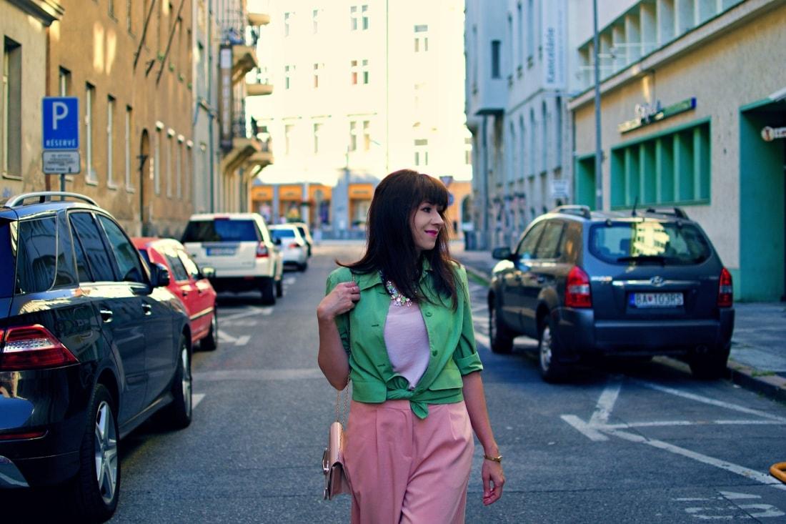 Culottes_Katharine-fashion is beautiful blog 3_Ružové nohavice_Nude lodičky_Katarína Jakubčová