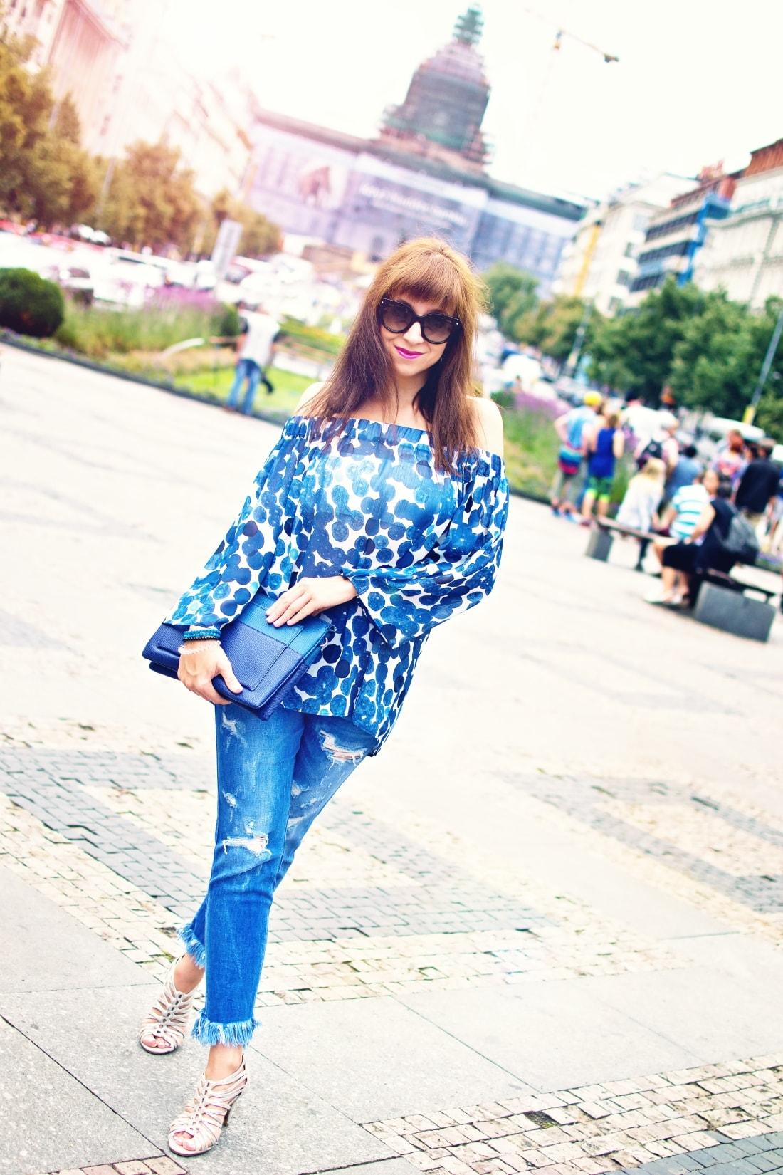 What is your message?_Katharine-fashion is beautiful blog 1_Dots_Bodkovaný top_Strapce_Džínsy zo Zary_Parfois kabelka_Katarína Jakubčová_Fashion blogger