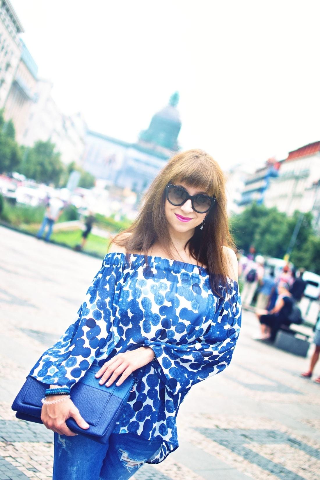 What is your message?_Katharine-fashion is beautiful blog 2_Dots_Bodkovaný top_Strapce_Džínsy zo Zary_Parfois kabelka_Katarína Jakubčová_Fashion blogger