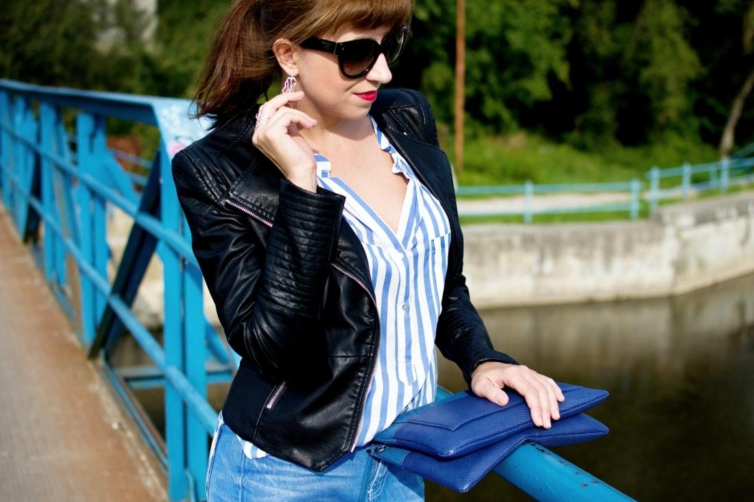 Move, move, move_Katharine-fashion is beautiful_11_Blog_Kožená bunda_Roztrhané džínsy_Prúžkovaná blúzka_Kabelka Parfois_Katarína Jakubčová_Fashion blogger