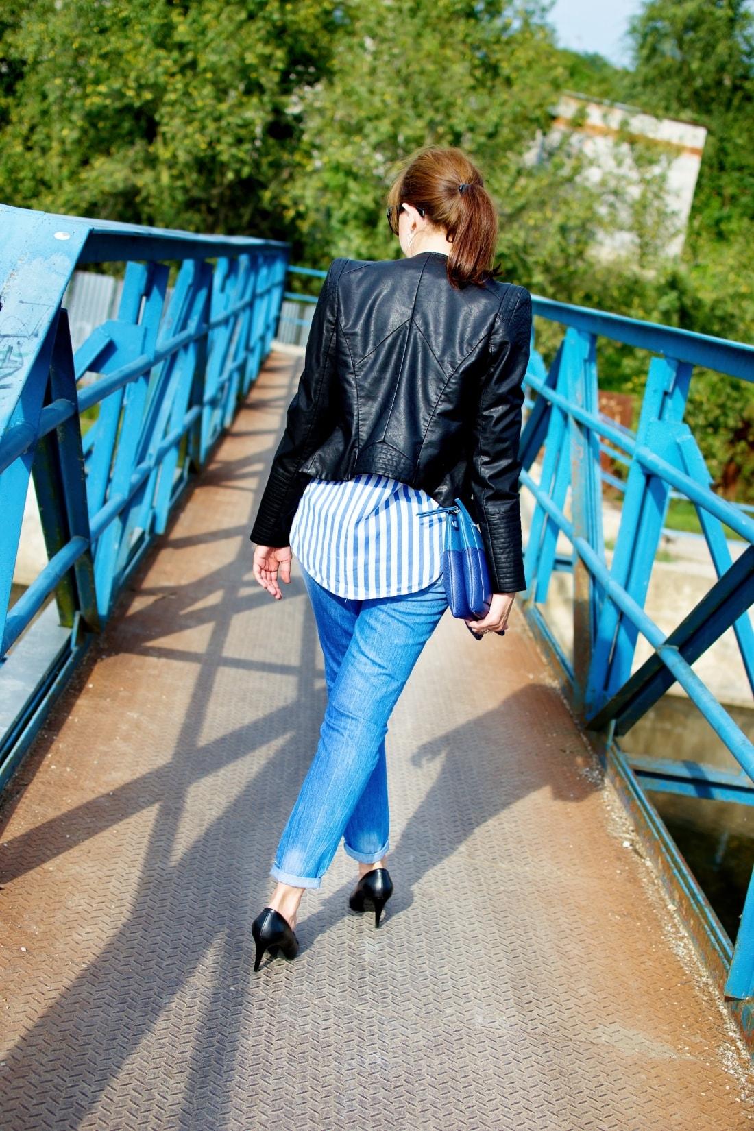 Move, move, move_Katharine-fashion is beautiful_6_Blog_Kožená bunda_Roztrhané džínsy_Prúžkovaná blúzka_Kabelka Parfois_Katarína Jakubčová_Fashion blogger