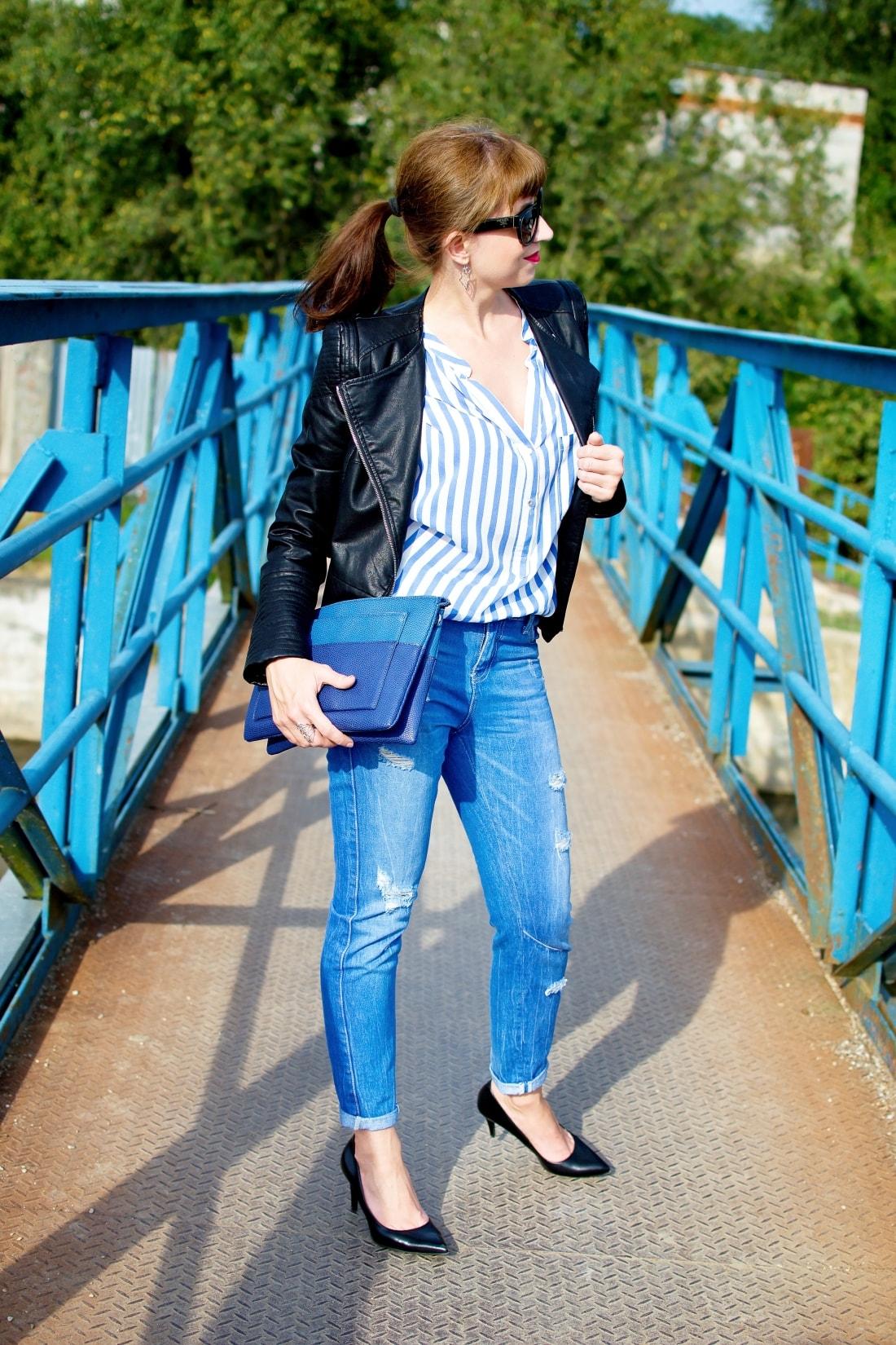 Move, move, move_Katharine-fashion is beautiful_7_Blog_Kožená bunda_Roztrhané džínsy_Prúžkovaná blúzka_Kabelka Parfois_Katarína Jakubčová_Fashion blogger