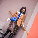 V NOWOM TARGU A SEMIŠOVÁ BUNDA NIELEN PRE BLOGERKU_Katharina-fashion is beautiful blog (3)_Kvetovaná plisovaná sukňa_Kabelka JEJ_Katarína Jakubčová_Fashion blogerka